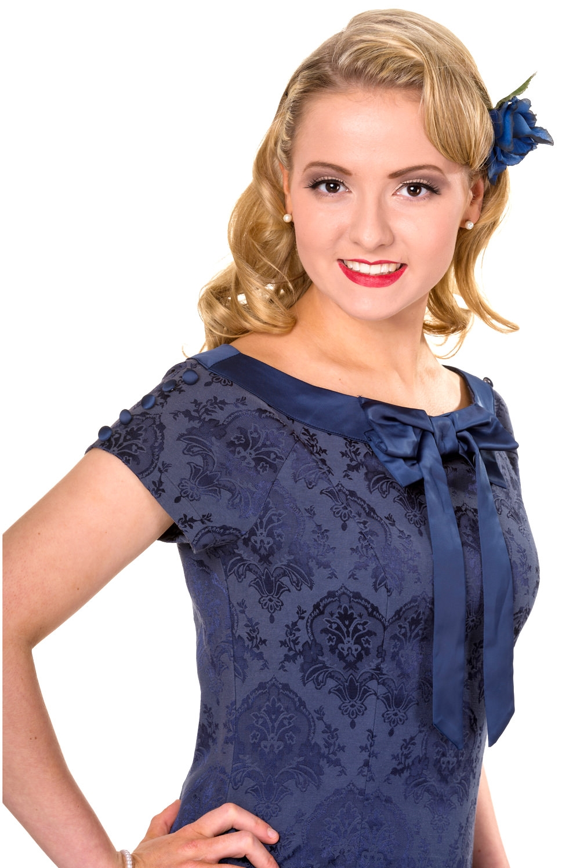 Wiggle kjole: Limitless, blå, sød tætsiddende kjole med brokade