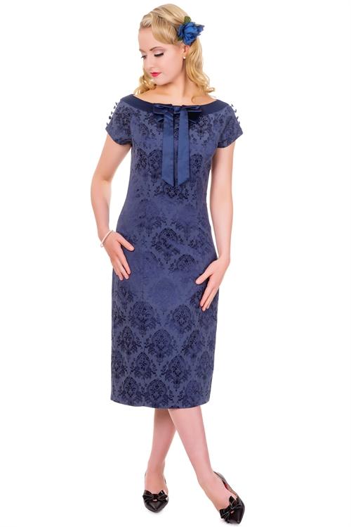 Wiggle kjole Alwine, sød tætsiddende kjole i sort med blonde