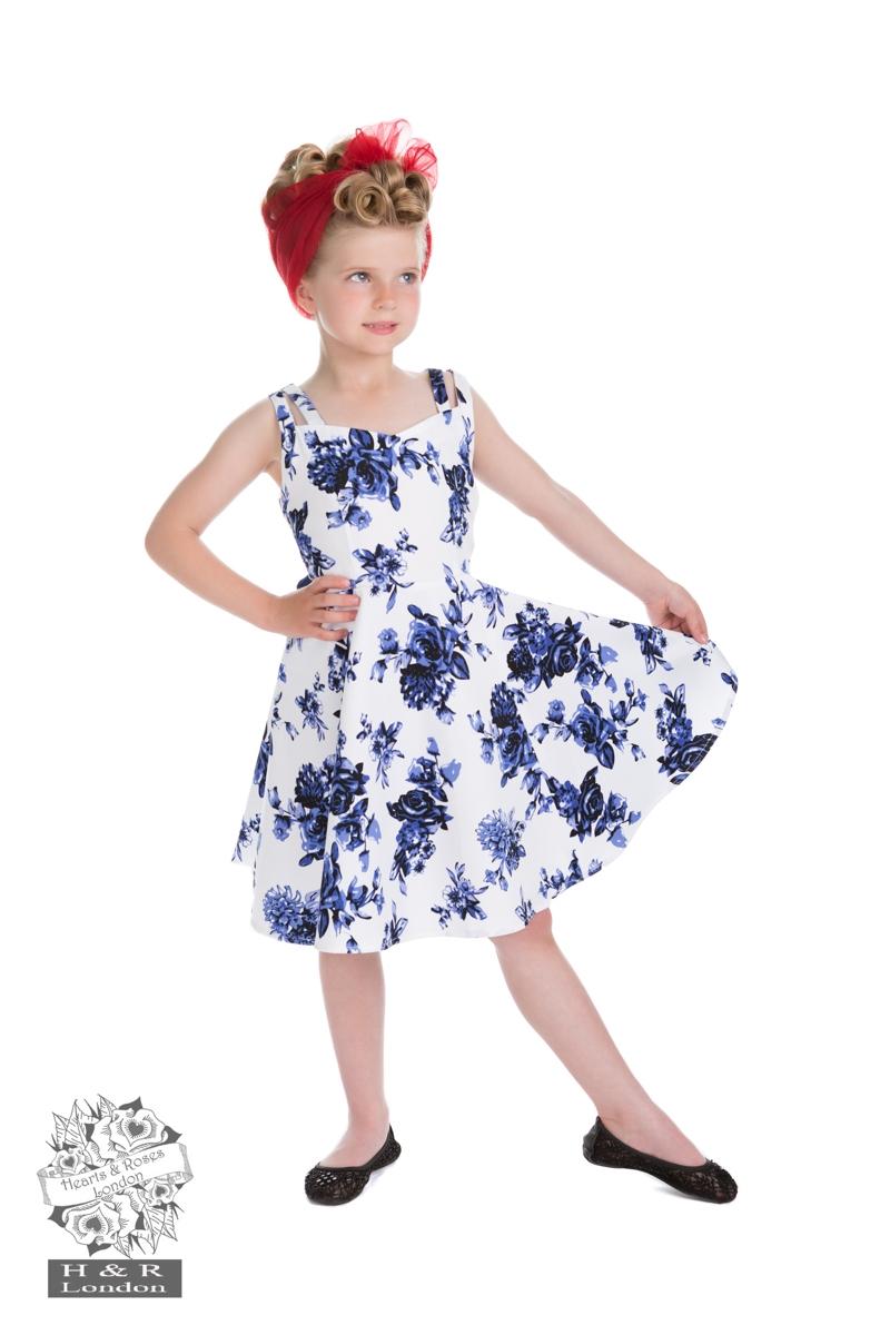 3d2b93be Mini Blue Rosegarden: Sød rockabilly kjole i hvid med smukke blå ...