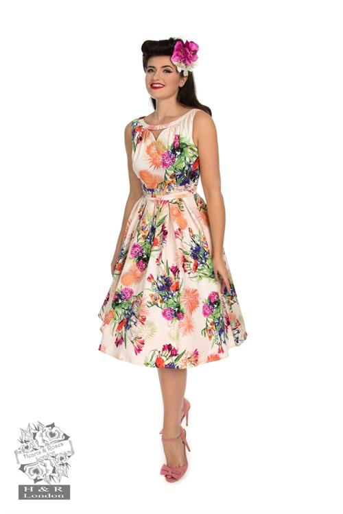 Tætsiddende kjole; Andromeda sød wiggle kjole i hvid med pink blomster str. 36 46