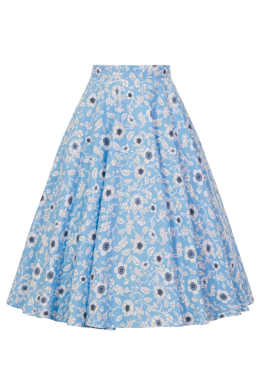 50ér nederdel: Daphne, lyseblå cirkelnederdel med søde blomster