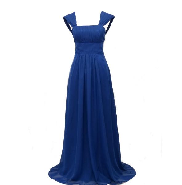 8e51e2e2a7f Lang festkjole - Indigo - lang gallakjole i blå med korsetbånd på ryggen