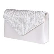 520be491 Fest clutch - Merion, hvid diamant - sød festtaske i satin med glitrende  sten 306