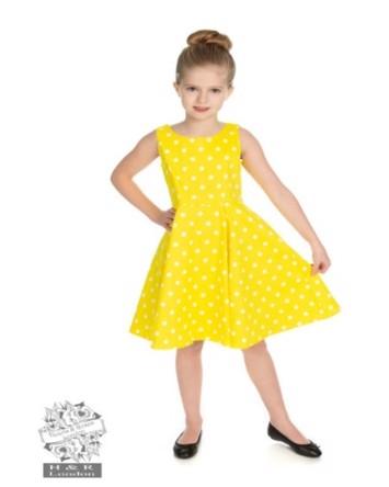 a38baee9efaf Børne swing kjole  Mini Cindy Dot - sød 50ér kjole i lysegul til piger