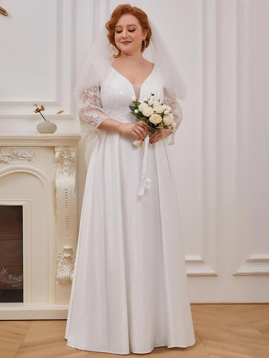 Brudekjole - Rosa Helenae - smuk hvid lang kjole i kraftig